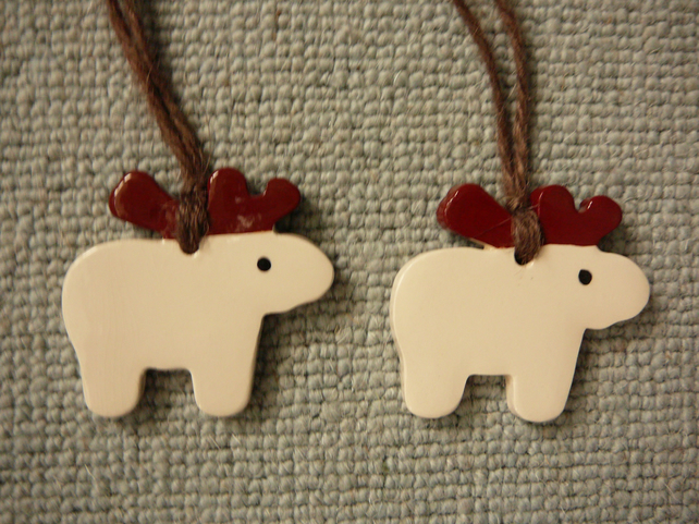 Pair of Ceramic Hanging Reindeer