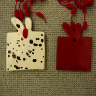 Pair of Ceramic Christmas Parcels