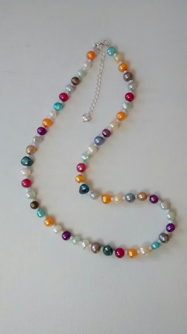 Rainbow Freshwater Pearl Necklace - Free Postage
