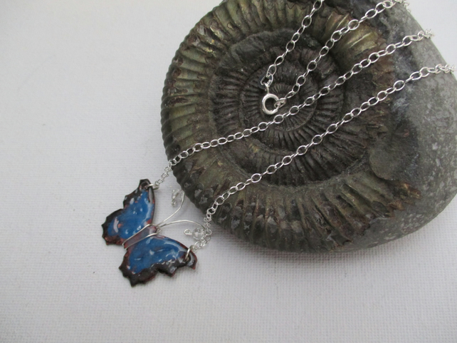 Enamel Copper Butterfly Pendant on Sterling Silver Chain - Free Postage