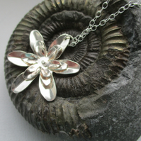Sterling Silver Flower Pendant - Free Postage