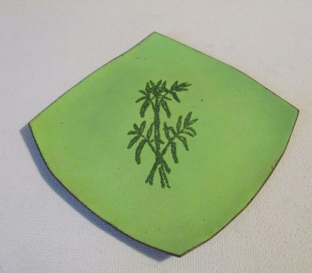 Square hand enamelled recycled copper dish. Free UK postage