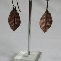 Burnished Copper earrings on Niobium wires. Free UK Postage