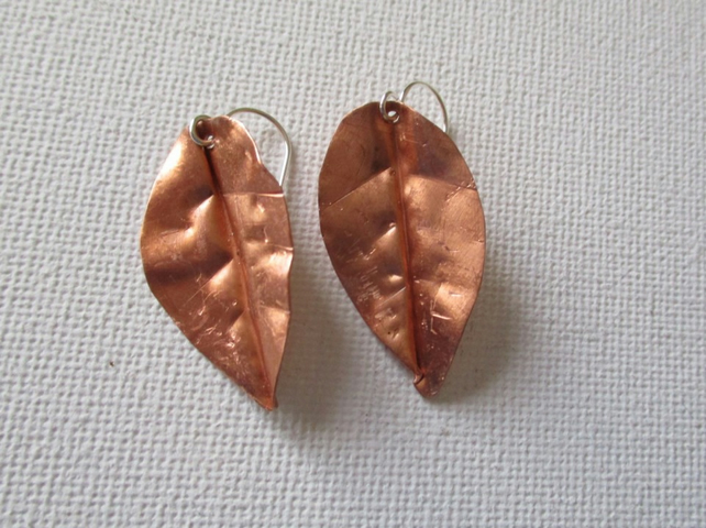 Bright copper leaf earrings - Free UK postage