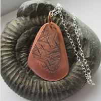 Two layer copper pendant - free UK postage