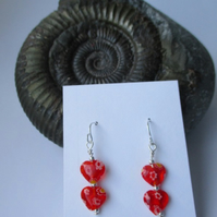 Red tiny heart earrings - Valentine - Free UK postage