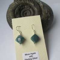 Moss Agate earrings - Free UK postage