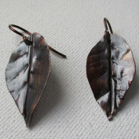 Hand made copper leaf earrings - Free UK postage