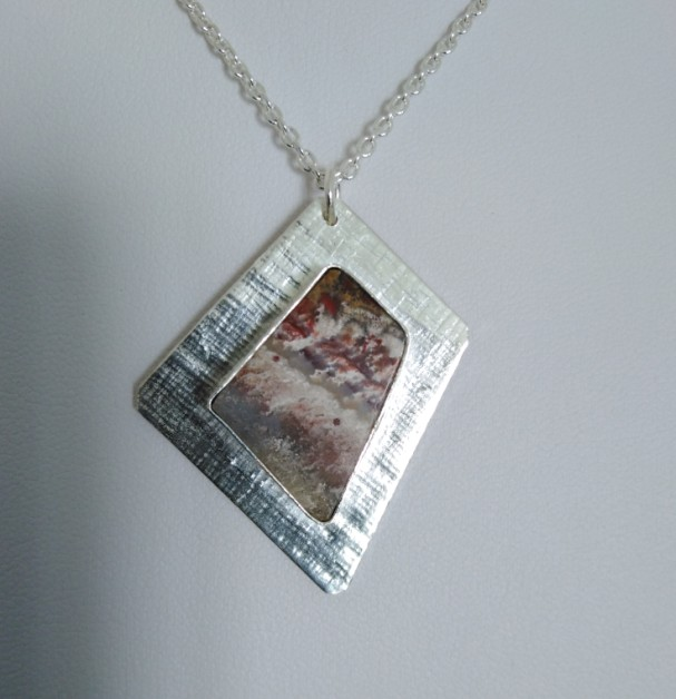 Unique Sterling Silver Pendant with hand cut jasper  - free UK postage