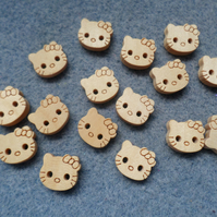 30 x 2-Hole Wooden Buttons - 11mm - Neutral Colour - Kitty