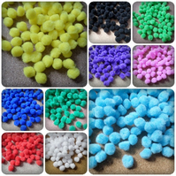 50 x Mini Wool Craft Pompoms - 12mm - Mixed Colour