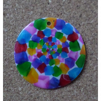 2 x Printed Shell Pendants - Round - 35mm - Multi-Swirls