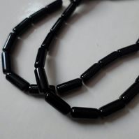 50 x Glass Beads - Tube - 10mm - Black