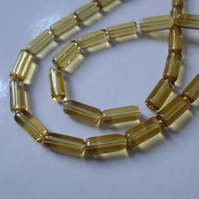 50 x Glass Beads - Tube - 10mm - Golden Yellow