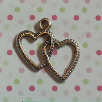 10 x Tibetan Silver Plated Pendants - 23mm - Double Linked Hearts
