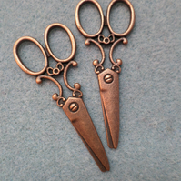 8 x Red Copper Plated Pendants - 61mm - Scissors