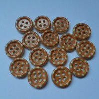 15 x 4-Hole Printed Wooden Buttons - Round - 15mm - Polka Dot - Orange