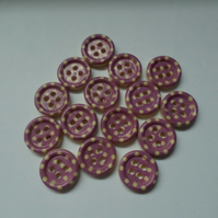 15 x 4-Hole Printed Wooden Buttons - Round - 15mm - Polka Dot - Purple