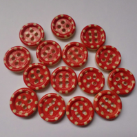 15 x 4-Hole Printed Wooden Buttons - Round - 15mm - Polka Dot - Red