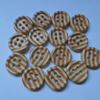 15 x 4-Hole Printed Wooden Buttons - Round - 15mm - Stripes - Orange