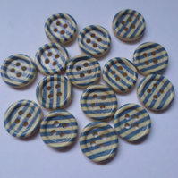 15 x 4-Hole Printed Wooden Buttons - Round - 15mm - Stripes - Royal Blue
