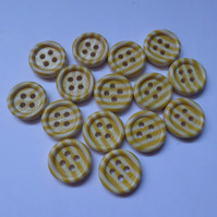 15 x 4-Hole Printed Wooden Buttons - Round - 15mm - Stripes - Yellow