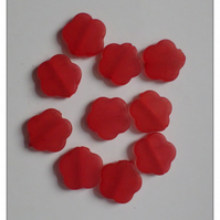 10 x Frosted Acrylic Beads - 18mm - Flower - Red