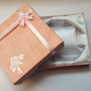 1 x Cardboard Jewellery Gift Box - 9cm - Bow & Rose Design - Peach