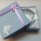 1 x Cardboard Jewellery Gift Box - 9cm - Bow & Rose Design - Purple