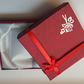 1 x Cardboard Jewellery Gift Box - 9cm - Bow & Rose Design - Red