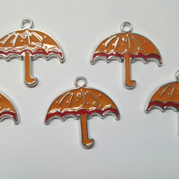 5 x Enamel Silver Plated Pendants - Umbrella - 28mm - Yellow