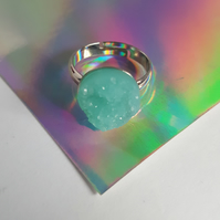 Resin Druzy Ring - Pale Blue