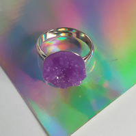 Resin Druzy Ring - Purple
