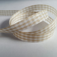 3m Ribbon - Gingham Check - 10mm - Beige