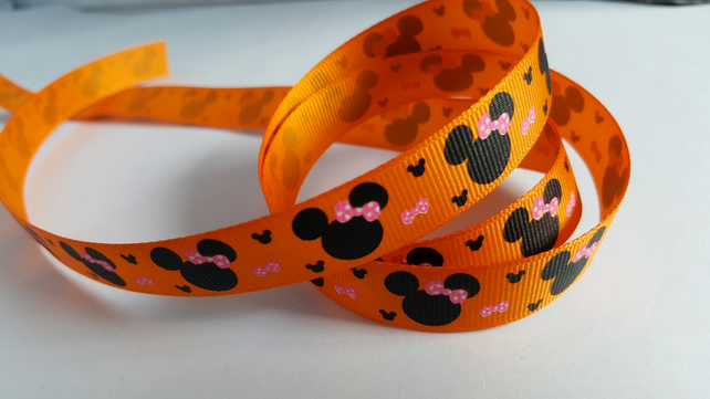 3m Ribbon - Printed Grosgrain - 16mm - Cartoon Mouse - Orange