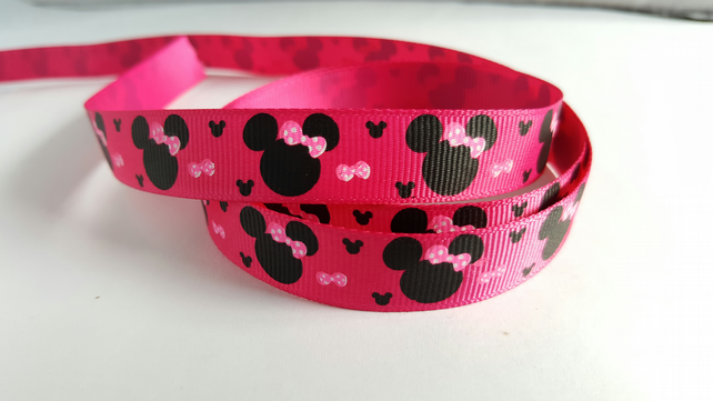 3m Ribbon - Printed Grosgrain - 16mm - Cartoon Mouse - Pink