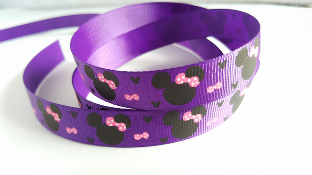 3m Ribbon - Printed Grosgrain - 16mm - Cartoon Mouse - Purple