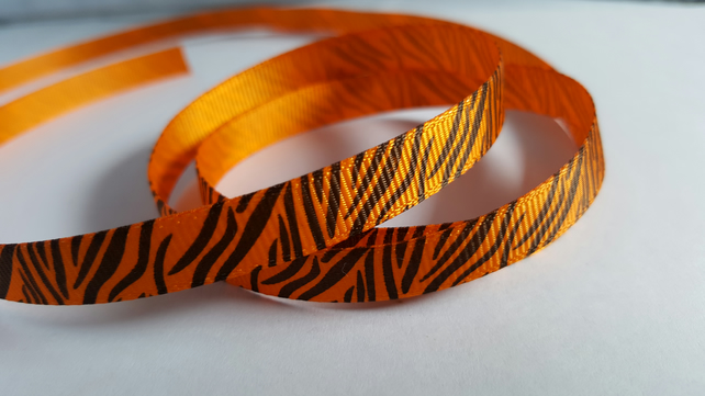 3m Printed Ribbon - Grosgrain - 9mm - Zebra Print - Orange
