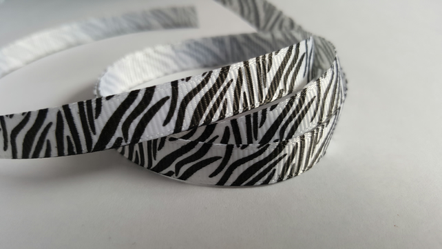 3m Printed Ribbon - Grosgrain - 9mm - Zebra Print - White