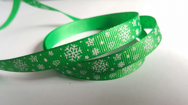 3m Ribbon - Printed Grosgrain - 9mm - Snowflakes - Green