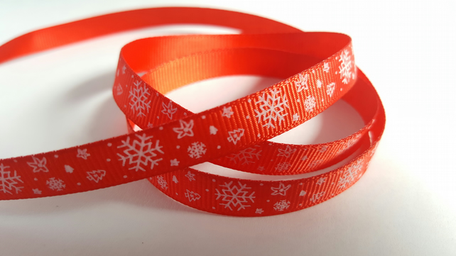 3m Ribbon - Printed Grosgrain - 9mm - Snowflakes - Red