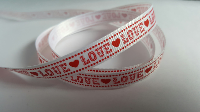 3m Ribbon - Printed Grosgrain - 9mm - Love - Red & White