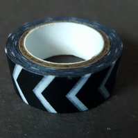 1 x 5m Roll Adhesive Craft Washi Tape - 15mm - Chevron - Black & White