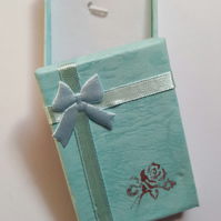 1 x Cardboard Jewellery Gift Box - 7cm - Bow & Rose Design - Blue