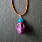 Bright Purple Turquoise Skull Beaded Pendant Choker Necklace