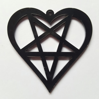 1 x Laser Cut Acrylic Pendant - 50mm - Penta-heart - Black