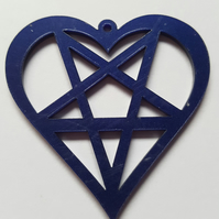 1 x Laser Cut Acrylic Pendant - 50mm - Penta-heart - Dark Blue