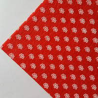 "1 x Printed Felt Square - 12"" x 12"" - Flowers - Red"