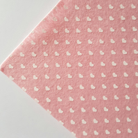 "1 x Printed Felt Square - 12"" x 12"" - Hearts - Pale Pink"