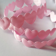 3m Polyester Trim - 16mm - Hearts - Pale Pink